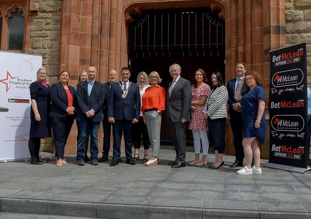 Group pictured at the launch of the Derry Journal – BetMcLean People of the Year Awards 2021 in Guildhall Square on Wednesday afternoon last. From left, Maeve Walsh, Retail Director, Specsavers, Caroline Corr, Calor, Louise Strain, Derry Journal, Brendan McDaid, Editor, Derry Journal,   John Harkin, CEO, Alchemy Technology Services, the Mayor of Derry and Strabane Alderman Graham Warke, Andrena O'Prey, Advertising Manager, Derry Journal,  Jacqui Diamond, Derry Journal,  Paul McLean, managing director BetMcLean, principal sponsor, Teresa McCloskey, Performance & Quality Manager, Apex Housing Association, Donna Matthewson, Director of Housing, Apex Housing Association , Steve Frazer, Managing Director, City of Derry Airport and Julie Forde, events Manager, Derry Journal.  DER2124GS – 020