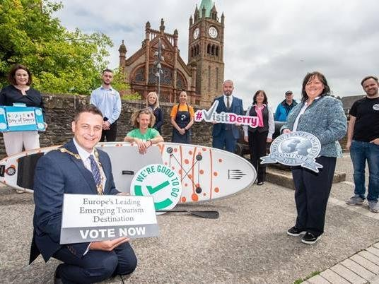 Supporting the voting are industry members, Brenda Morgan, City of Derry Airport, Ethan Dunlop, City Cabs, Lawrence McBride, Far and Wild, Carla McDevitt, Airporter, Kiera Duddy, The Pickled Duck, Bronagh Masoliber, Visit Derry. David Douglas, Derrie Danders and James Huey, Walled City Brewery. To vote for Derry as Europe's Leading Emerging Tourism Destination, visit www.visitderry.com/vote before 14th July.