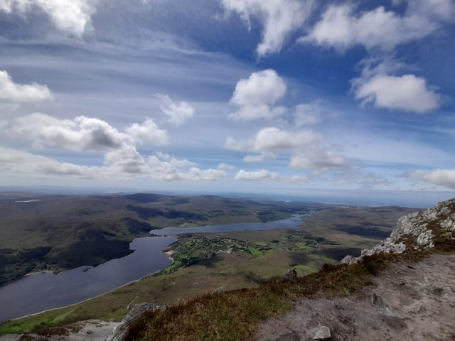 A view of Dunlewey Lough, the Derryveagh mountains, Gweedore and the Rosses, from the summit of Errigal.