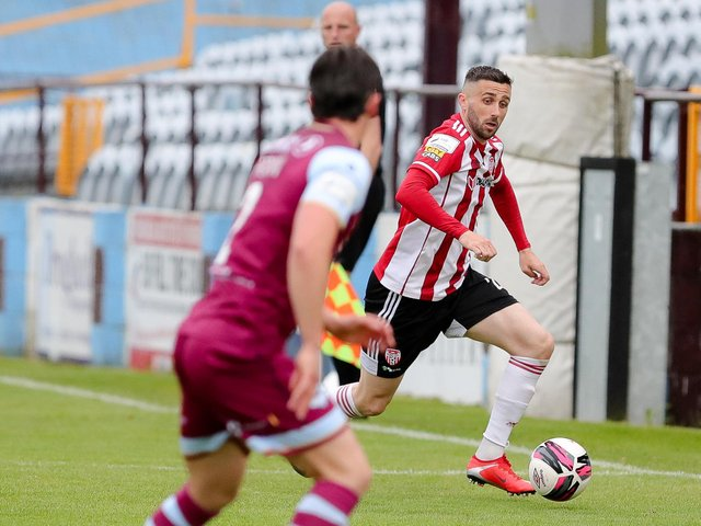 Derry City defender Danny Lafferty in action against Drogheda United before the break. Photograph by Kevin Moore.