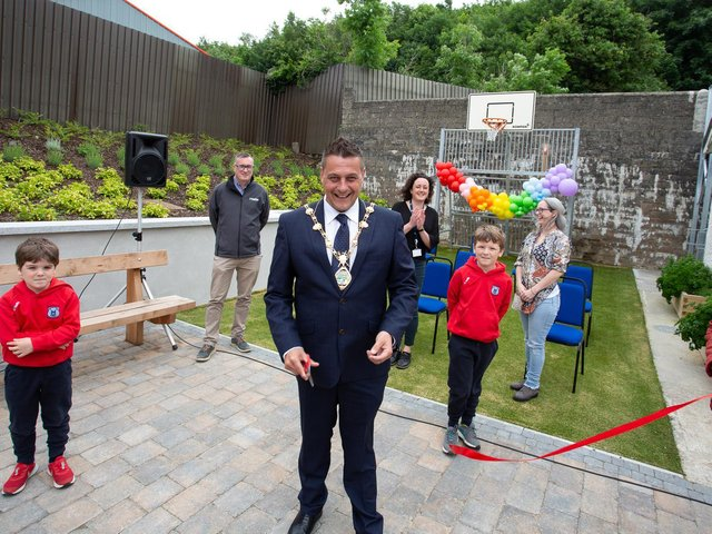 """Mayor of Derry and Strabane, Graham Warke: """"I'm absolutely delighted to visit Donemana and to see this work first-hand which provides a great space for the Drummond Centre Project and the Donemana community to enjoy."""""""
