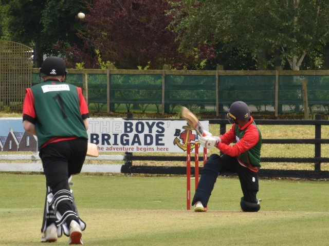 Ballyspallen professional Damith Perera scooped this one to the boundary during their loss to Newbuildings. Picture by Lawrence Moore