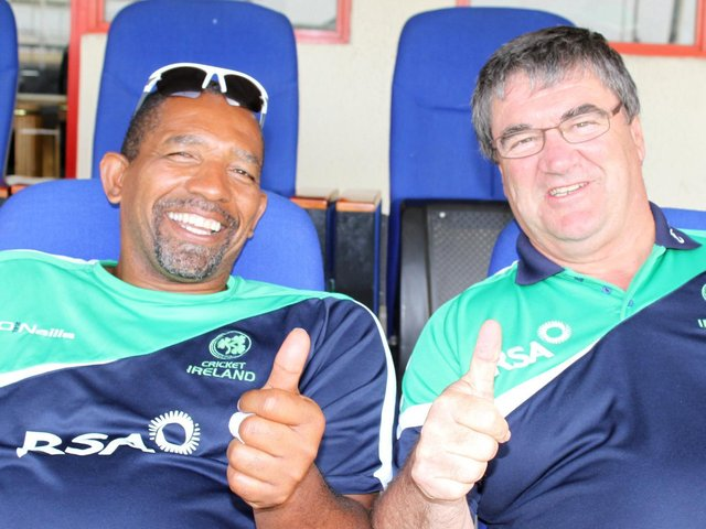 Thumbs up from former Ireland coach Phil Simmons and the late great Ireland manager Roy Torrens. Picture by Barry Chambers