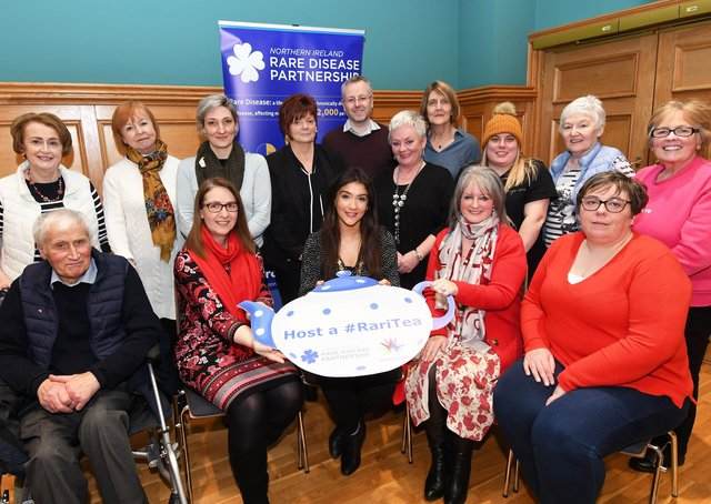 2020: The then Deputy Mayor, Councillor Cara Hunter, seated centre, hosted a reception in the Guildhall on Monday for the Foyle/NW Branch of the Northern Ireland Rare Disease Partnership to mark International Rare Disease Day. Included are Stephanie Duguez, Lecturer in Stratified Medicine, University of Ulster, Magee Campus; Rhoda Walker, Chairperson of the Northern Ireland Rare Disease Partnership, and Sandra Campbell, volunteer with the Foyle/NW Branch of NIRDP. DER1020-102KM