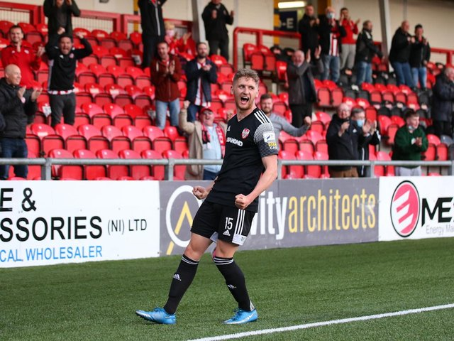 Goalscorer Ronan Boyce enjoyed the reaction from the Southend Park stand after his 86th minute equaliser against Sligo Rovers. Photo by Kevin Moore.