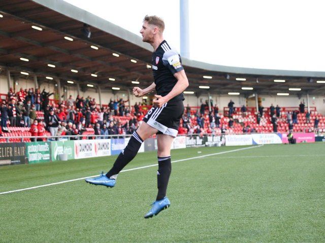 Ronan Boyce celebrates Derry City's equaliser against Sligo Rovers. Picture by Kevin Moore/MCI