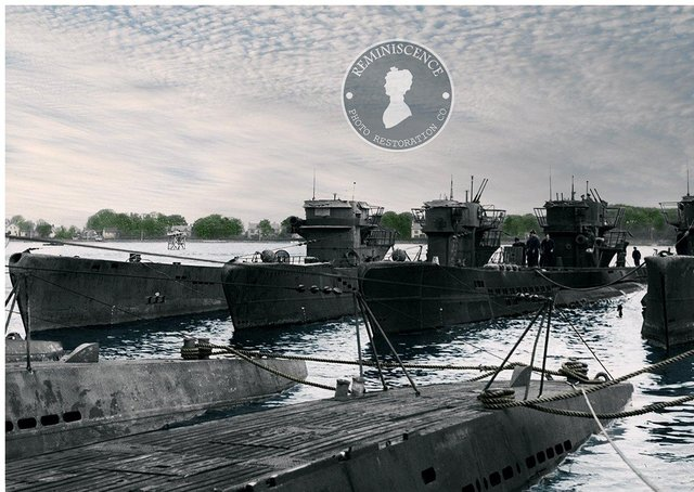 A restored photograph of the U-Boats at Lisahally after the kapitulation of May 1945.