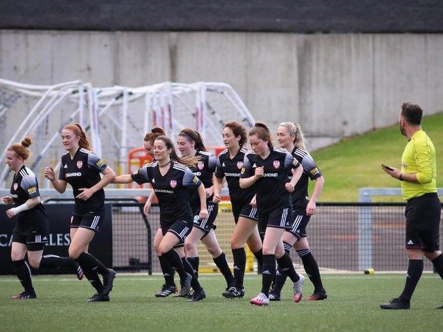 Derry City Women celebrate Caroline Gallagher's goal against Linfield Ladies. Picture by John Paul McGinley
