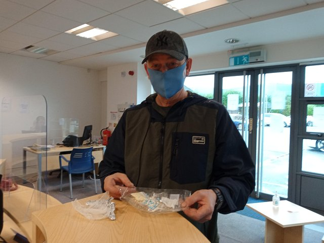 Gerald Deehan with some of the drugs which  he removed and was taking to police this evening.
