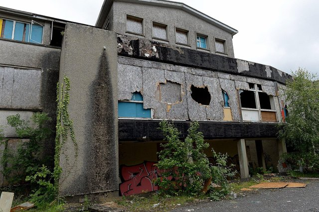 Derelict buildings on the old Thornhill College site Culmore Road that has been vacant since 2004. DER2125GS - 014