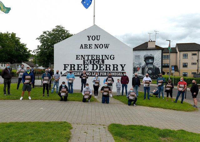 Group pictured during a Time for Truth and Justice protest, organised by Sinn Fein and calling for a withdrawal of an amnesty for British state forces, at Free Derry Wall on Saturday afternoon last. DER2125GS - 079