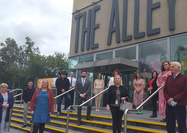 Representatives from the Western Health and Social Care Trust, Strabane Local Involvement Group, Public Health Agency, Fermanagh and Omagh District Council, Derry and Strabane District Council and Causeway Coast and Glens District Councils at the launch of the 'Reconnecting Events for Adult Learning Disability Community' at the Alley Theatre, Strabane.