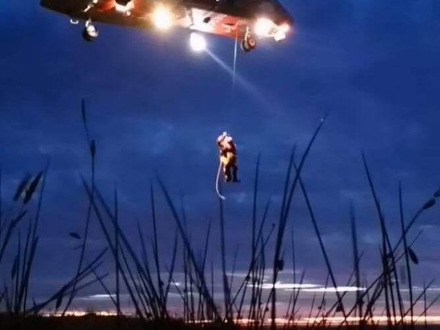 The woman was winced to safety by the Sligo rescue helicopter.