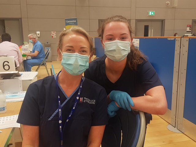 Noela Mullan, Podiatrist and Gemma Mullan Medical Student who are vaccinators at the Foyle Arena