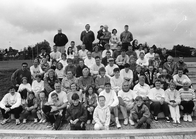 Group pictured at the start of the annual breakfast run for the Foyle Hospice which took place in July 1996. Included is Noel McMonagle, organiser.