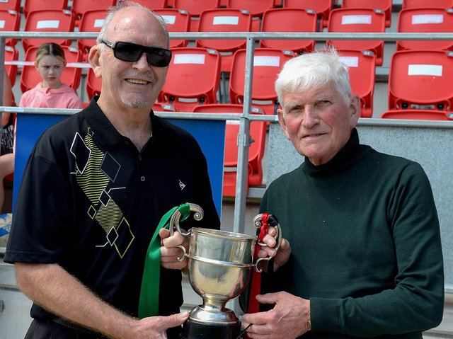 Willie Barrett and John'Jobby' Crossan pictured at the centenary McAlinden Cup Final in the Brandywell on Sunday afternoon last. (Photo: George Sweeney). DER2126GS – 010