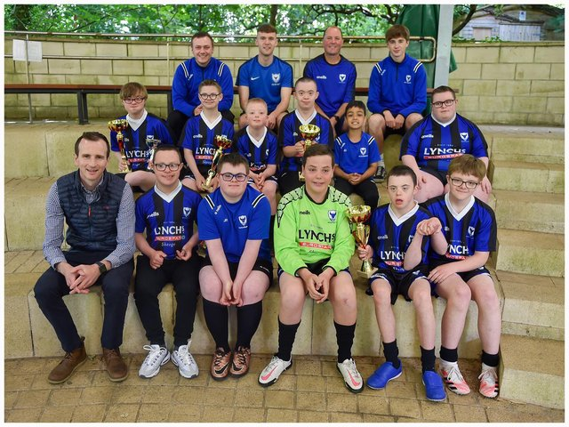 Oxford Bulls players and coaches and club sponsor Conor Lynch from Lynch's Eurospar Skeoge pictured at the club's end of season awards. Photos by Peter McKane.