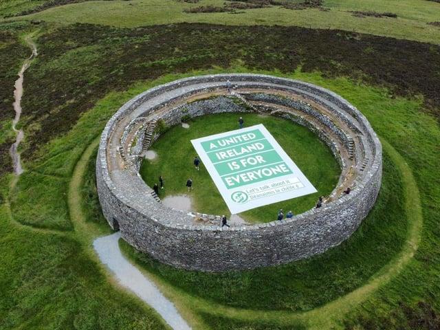 The unity banner at Grianán of Aileach.