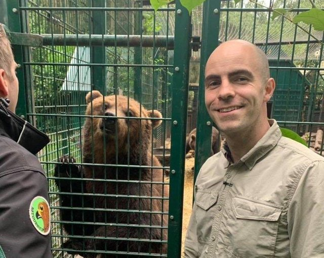 Killian McLaughlin, founder of Wild Ireland, with one of the three bears he previously brought back to Ireland.