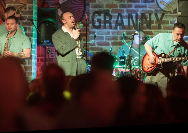 Tony Marino from Italian band Jumpin UpI on stage in Granny Annies during the City of Derry Jazz Festival. Picture Martin McKeown. Inpresspics.com. 04.05.19