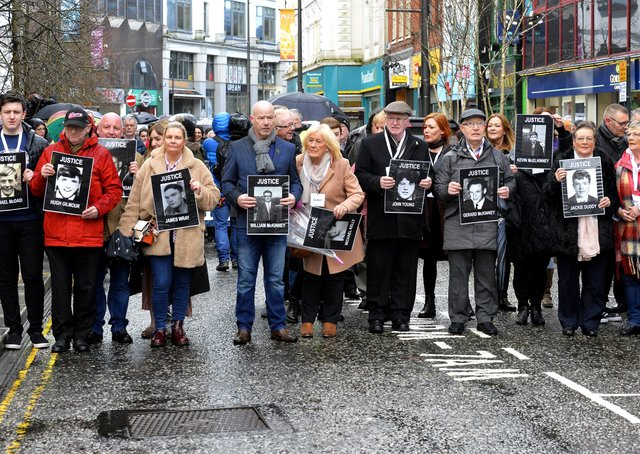 2019: Bloody Sunday families and relatives make their way to the City Hotel for a press conference back in March 2019 when they were told of the decision to prosecute Soldier F.  That decision has now been overturned. DER1119GS-032