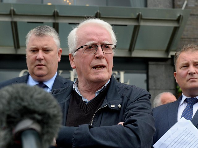 John Kelly, whose brother Michael was killed on Bloody Sunday, speaking outside the City Hotel on Friday morning after the PPS announcement that Soldier F will not stand trial. Photo: George Sweeney / Derry Journal.  DER2126GS – 159