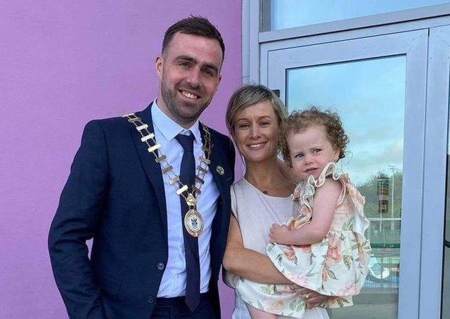 Cathaoirleach Councillor Jack Murray pictured at his election with wife Sabrina and daughter Bláithín.