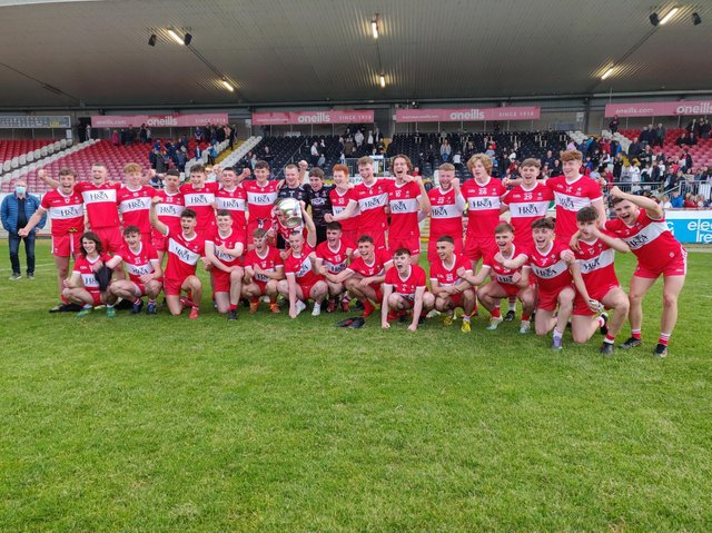 Derry celebrate their Ulster Minor Football Championship title after defeating Monaghan in Healy Park on Friday night