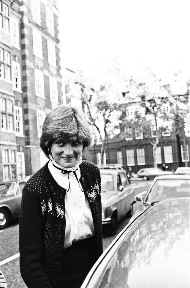 Lady Diana Spencer leaving her flat in Kensington, London