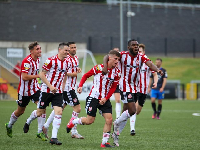 Derry City finally got off the mark at home with a comfortable win over Waterford. Photographs by Kevin Moore.