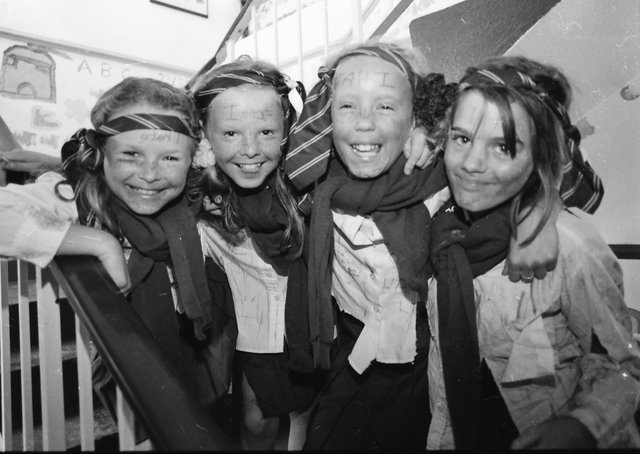 Catherine Doherty, Stephanie McDaid, Fiona Doherty and Orla Kelly, ready to take part in the fancy dress  parade at the annual Creggan Parents and Toddlers Fun Day in Cromore Garden in July 1996.