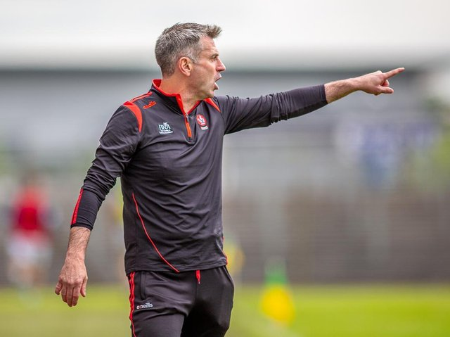 Derry manager Rory Gallagher will lead his side into battle against Donegal in Balybofey on Sunday. (Photo: Stefan Hoare)
