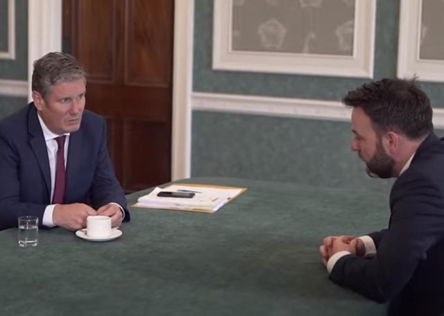 Labour leader Keir Starmer meeting with SDLP Leader, Foyle MP Colum Eastwood at Stormont.