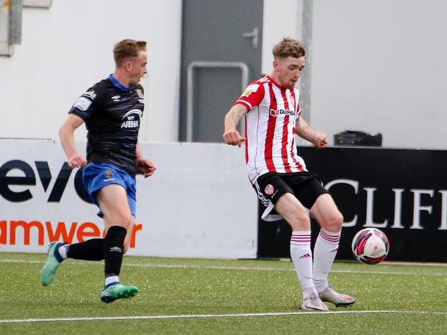 Derry City striker Jamie McGonigle in action against Waterford.