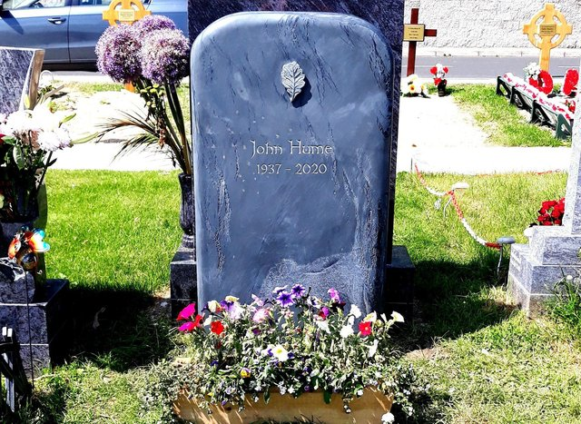The headstone erected this week on the grave of John Hume.
