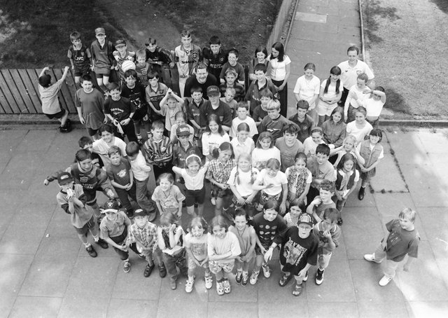 Some of the 200 local children who took park in the 1996 St. Columb's Park Summer School which was sponsored by Coca Cola.