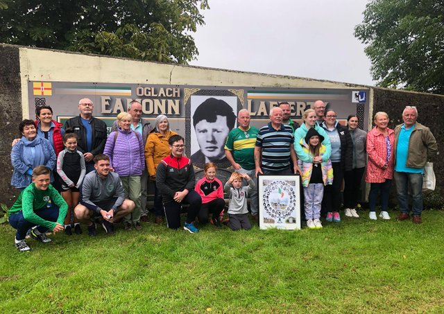 Members of Eamonn Lafferty's family at the mural in his memory at Kildrum Gardens.