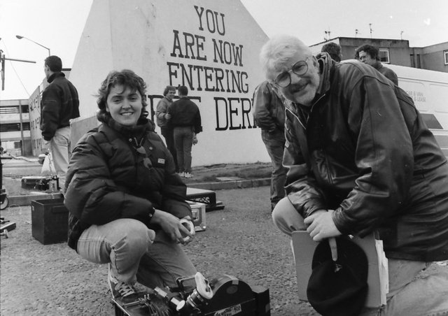 Martha O'Neill, producer of Bogwoman, consults with director Tom Collins during filming of the feature film in Derry.