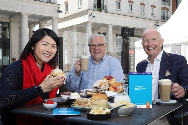 Best Scone NI is backed by Suzie Lee - BBC Home Cook Hero (left) and Colin Neill - Hospitality Ulster Chief Executive (right). Both pictured here with Dairy Council for Northern Ireland CEO, Mike Johnston (middle).