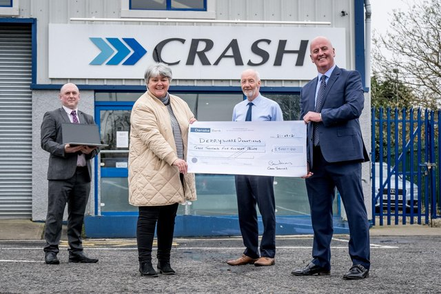 Photo from left to right: Eoghan Barr (Derryware Donations), Nuala Griffiths (New2You), Sean McLaughlin (CRASH Services) and Paul Cooney (CRASH Services).